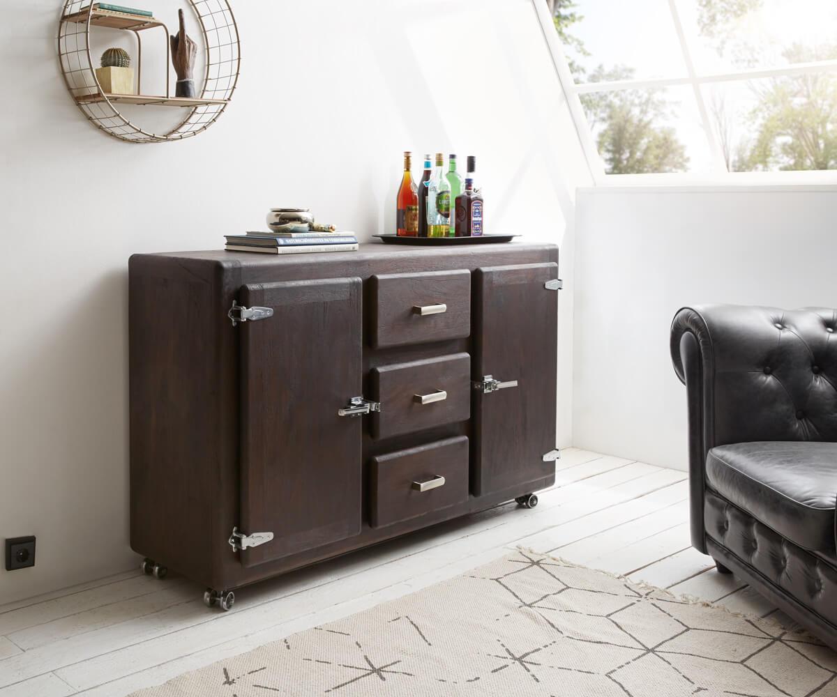 sideboard zakarya 150 cm akazie tabak 3 sch be massiv. Black Bedroom Furniture Sets. Home Design Ideas
