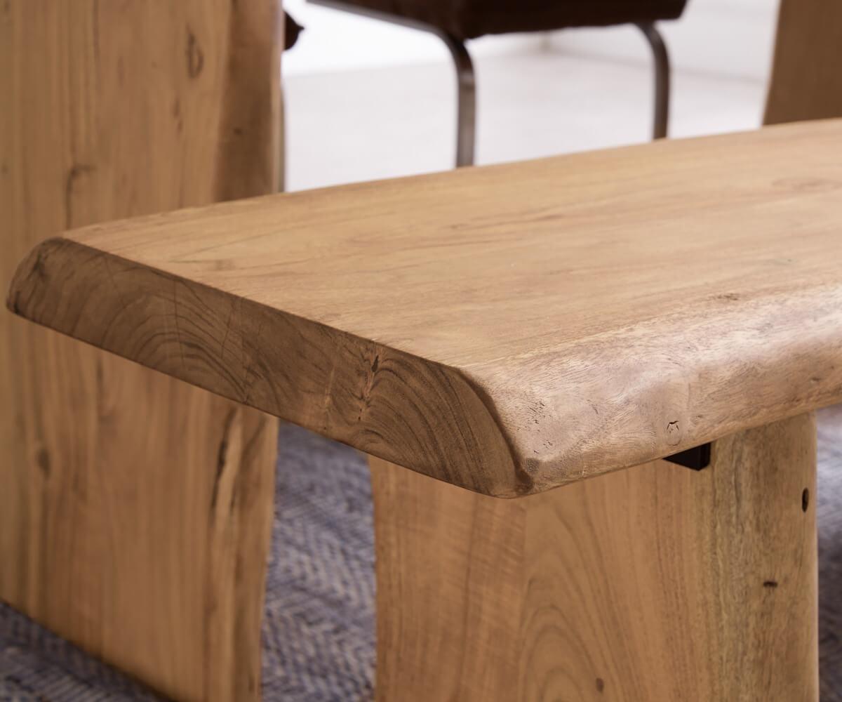 sitzbank live edge 195x40 akazie natur gestell massiv. Black Bedroom Furniture Sets. Home Design Ideas