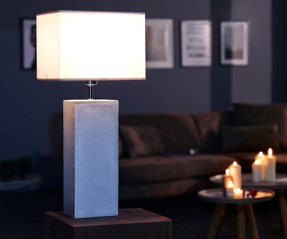 Tafellamp Carissima grijs 30x20 betonnen scherm stof 2
