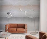 Stehlampe Big-Deal Deluxe Silber verchromt mit Dimmer und Betonfuß Bogenlampe  [11144]