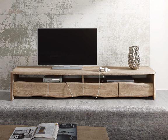 TV-meubel Live-Edge 190 cm acacia champagne 4 laden 2 vakken 2