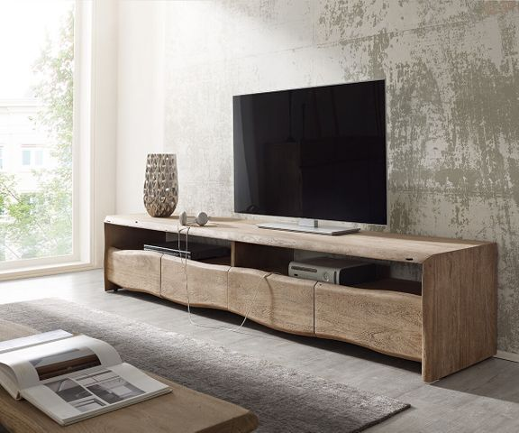TV-meubel Live-Edge 230 cm acacia champagne 4 laden 1