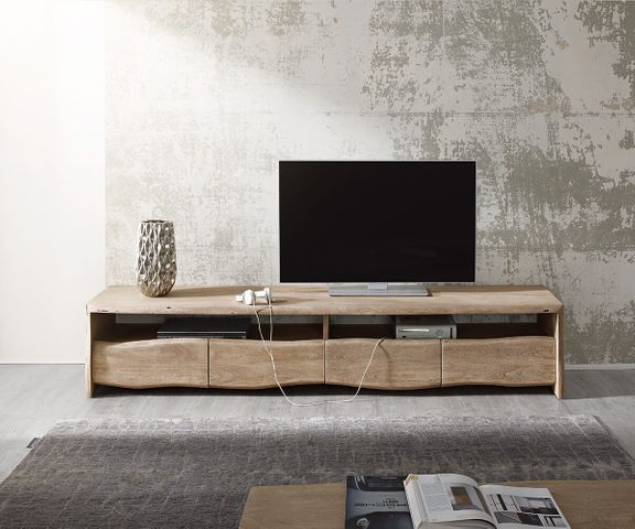 TV-meubel Live-Edge 230 cm acacia champagne 4 laden 2