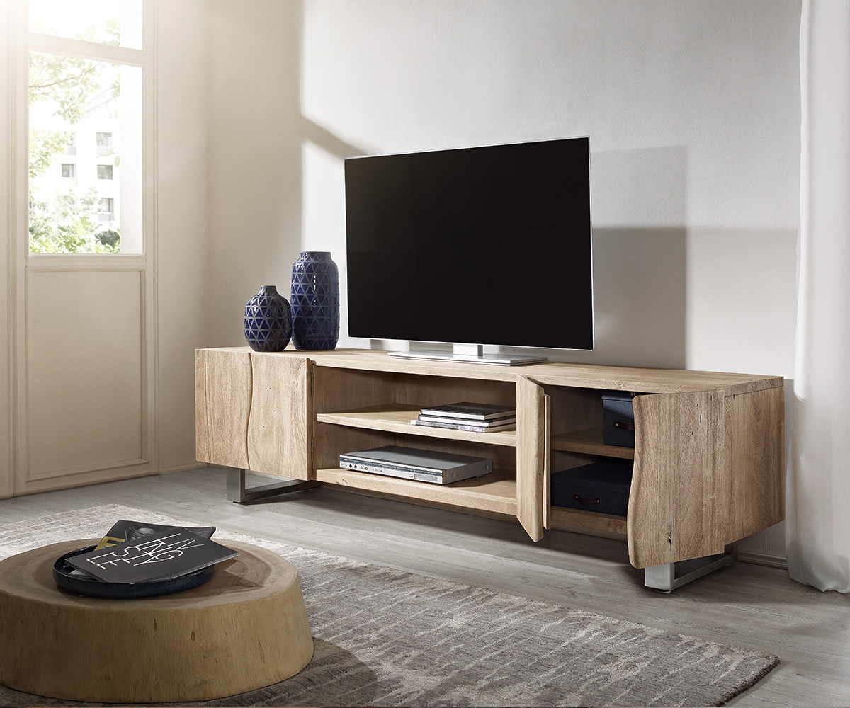 lowboard live edge 200 cm akazie champagner 4 t ren 2 f cher m bel tische fernsehtische. Black Bedroom Furniture Sets. Home Design Ideas