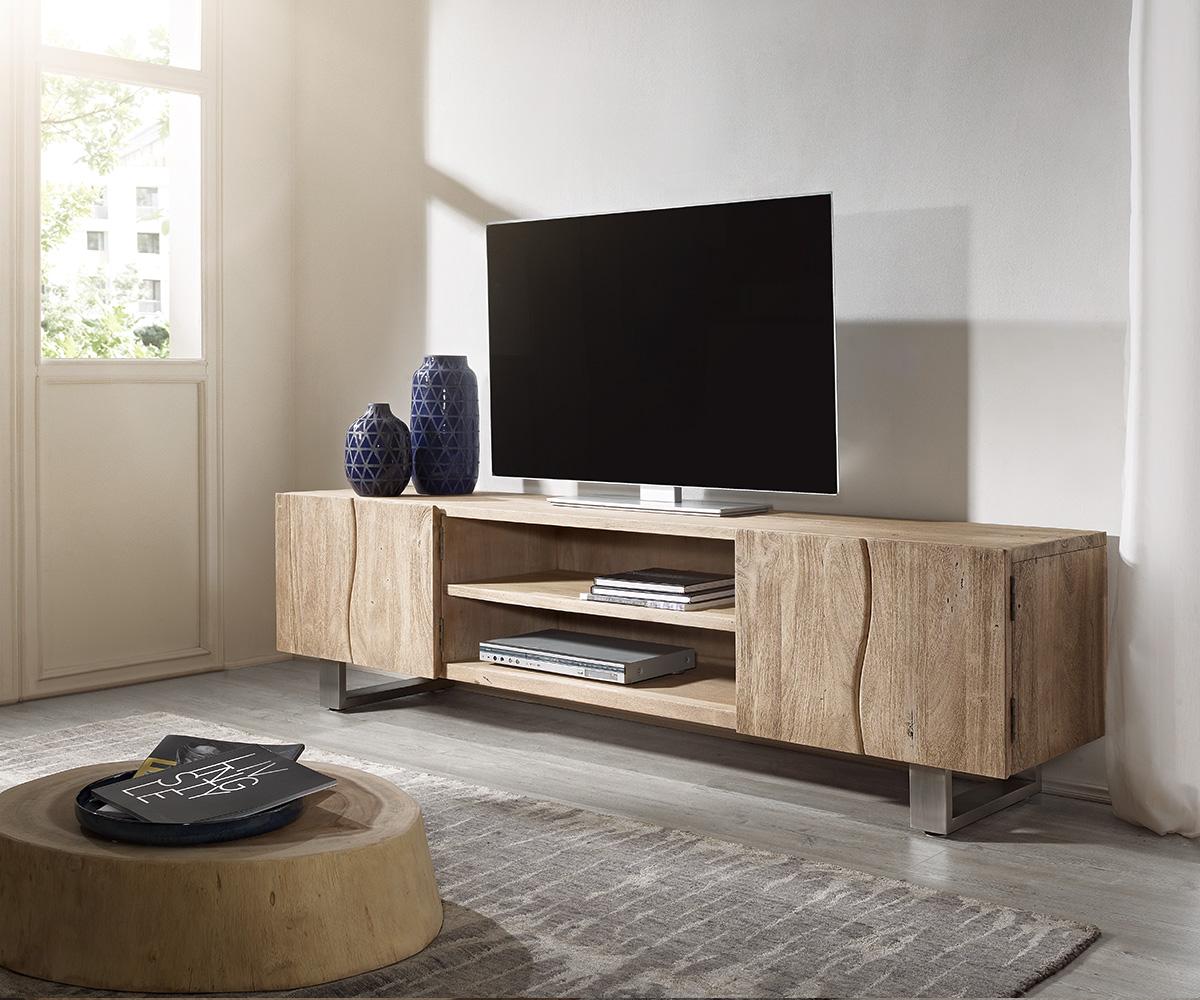 TV-meubel Live-Edge 200 cm acacia champagne 4 deuren 2 vakken