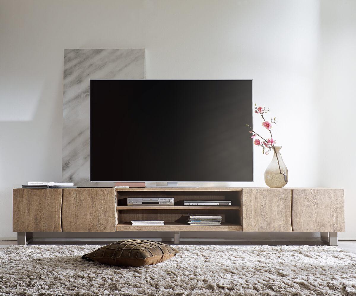 fernsehtisch live edge akazie champagner 300 cm 4 t ren 2 f cher lowboard. Black Bedroom Furniture Sets. Home Design Ideas