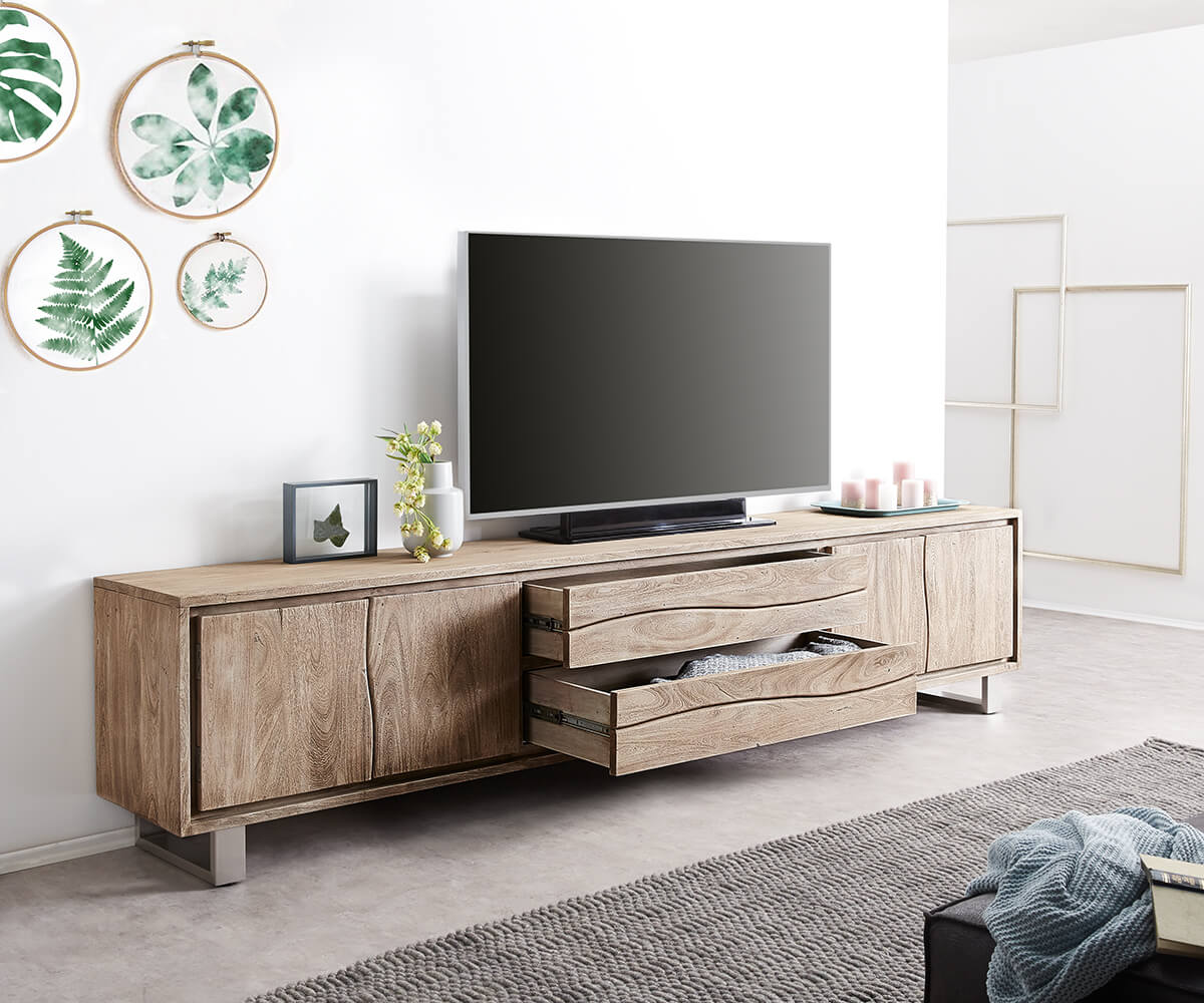 fernsehtisch live edge akazie champagner 300 cm 4 t ren 2 sch be baumkante lowboard. Black Bedroom Furniture Sets. Home Design Ideas