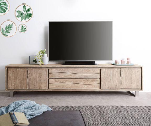 TV-meubel Live-Edge 300 cm acacia champagne 4 deuren 2 laden 3