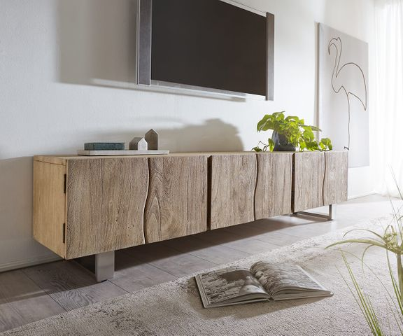 Tv-meubel Live-Edge 220 cm acacia champagne massief 6 deuren 1