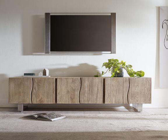 Tv-meubel Live-Edge 220 cm acacia champagne massief 6 deuren 2