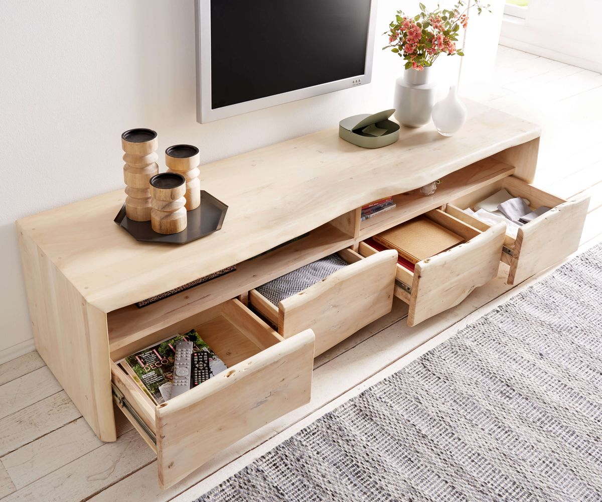fernsehtisch live edge akazie gebleicht 190 cm 4 schubk sten baumkante lowboard. Black Bedroom Furniture Sets. Home Design Ideas