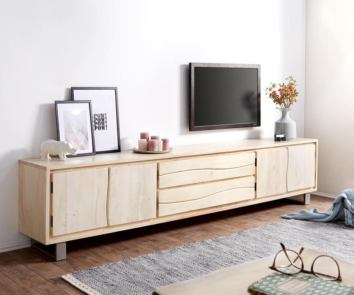 fernsehtisch live edge akazie gebleicht 300 cm 4 t ren 2 sch be baumkante lowboard. Black Bedroom Furniture Sets. Home Design Ideas