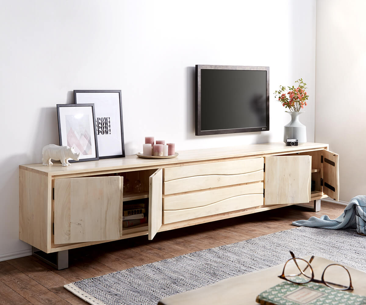 lowboard live edge 300 cm akazie gebleicht 4 t ren 2. Black Bedroom Furniture Sets. Home Design Ideas