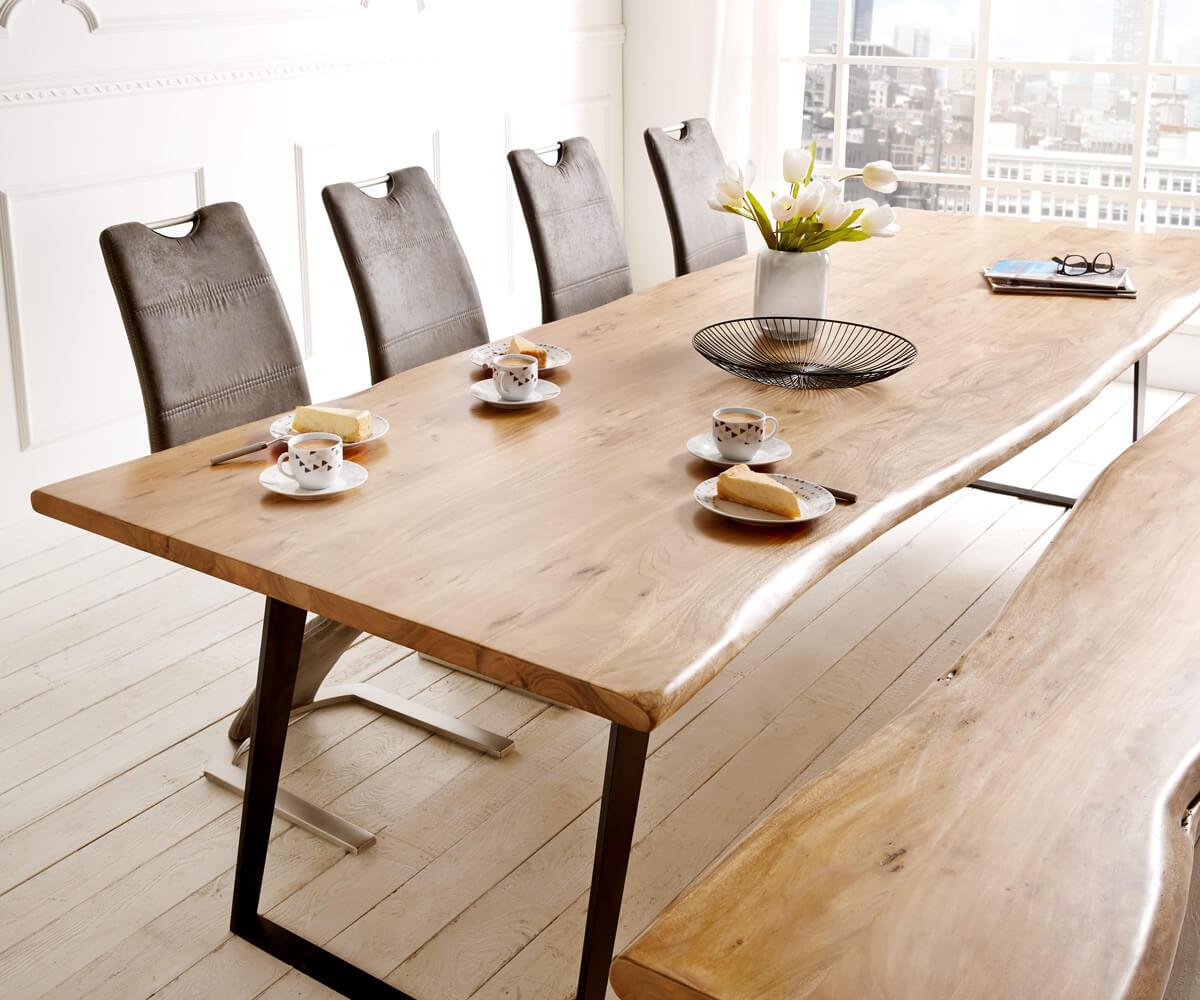 baumtisch live edge 300x100 akazie natur platte 3 5 cm gestell schr g m bel tische esstische. Black Bedroom Furniture Sets. Home Design Ideas