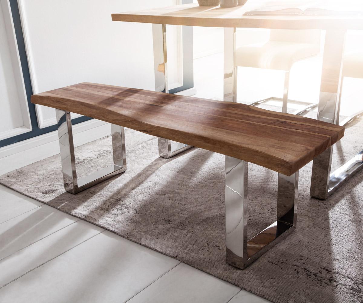 sitzbank live edge 140x40 sheesham natur edelstahl poliert. Black Bedroom Furniture Sets. Home Design Ideas