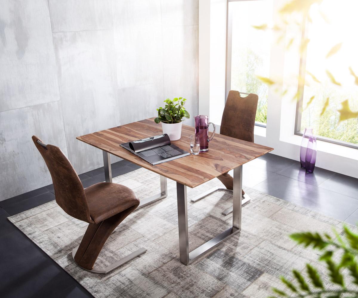 esstisch kenta 140x90 sheesham natur gestell edelstahl. Black Bedroom Furniture Sets. Home Design Ideas