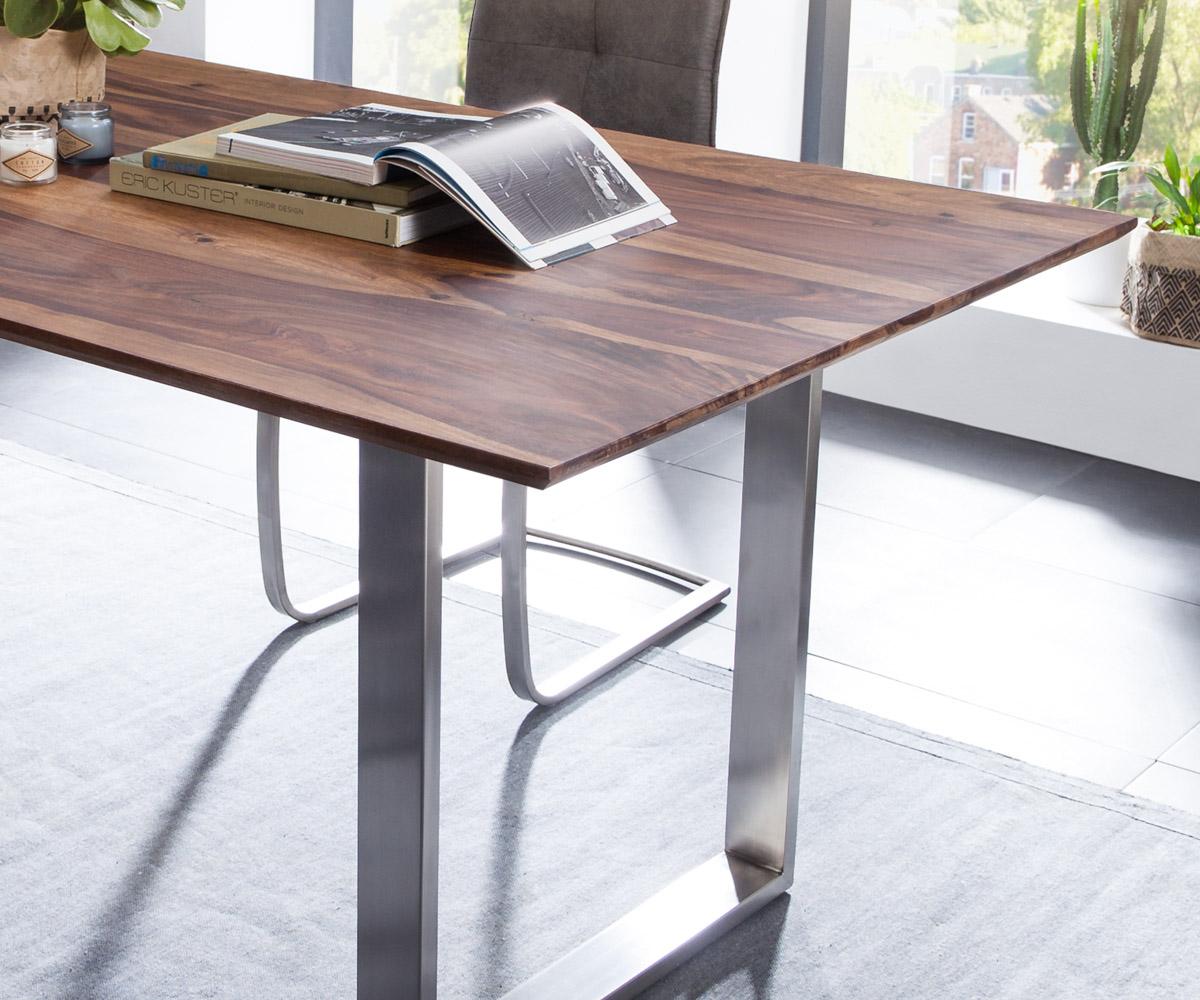 esszimmertisch kenta sheesham braun 200x100 cm gestell edelstahl esstisch delife ebay. Black Bedroom Furniture Sets. Home Design Ideas