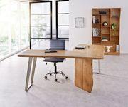 Bürotisch Live-Edge Akazie Natur 170x170 Gestell Silber Baumkante Schreibtisch [10973]