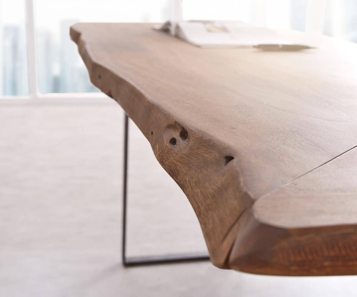 Schreibtisch Live-Edge 170x170 Akazie Braun Gestell