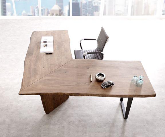 Bureautafel Live-Edge acacia bruin 180x180 frame zwart boomrand bureau 2