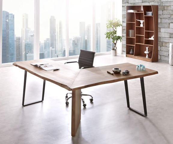 Bureautafel Live-Edge acacia bruin 180x180 frame zwart boomrand bureau 1