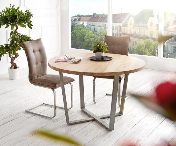 Eettafel Tamana 120x120 acacia gebleekt rond metalen frame 1