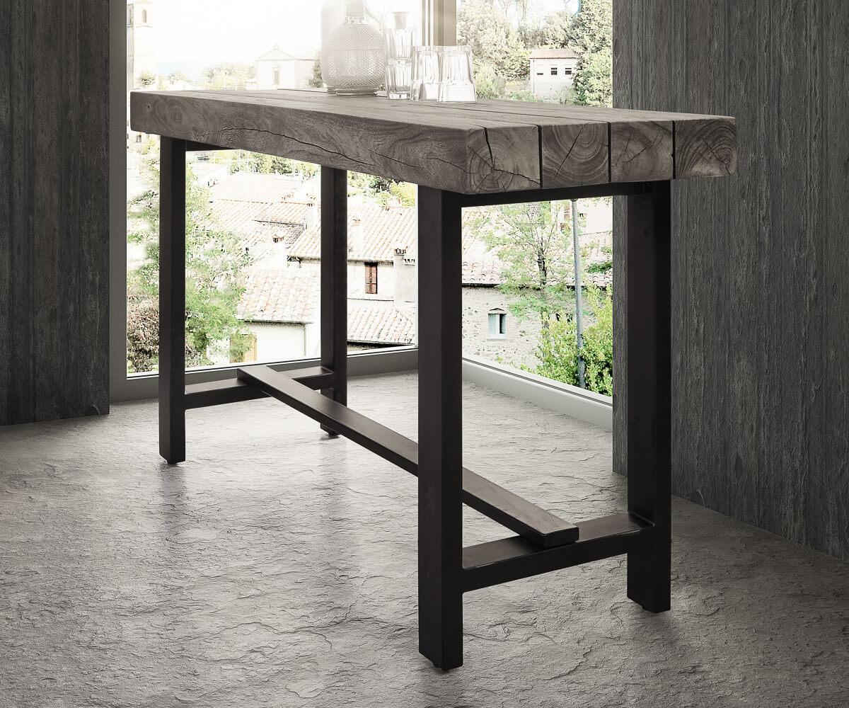 Stehtisch Blokk Akazie Platin 165x60 cm Massivholz Metallgestell ...