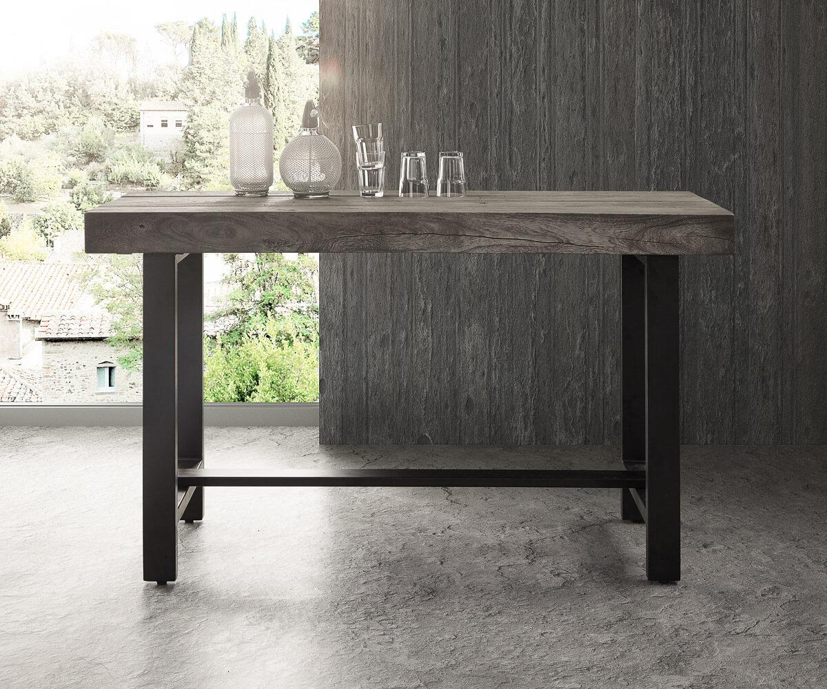 Bartisch Metall bartisch blokk 165x60 cm akazie platin massivholz metall möbel