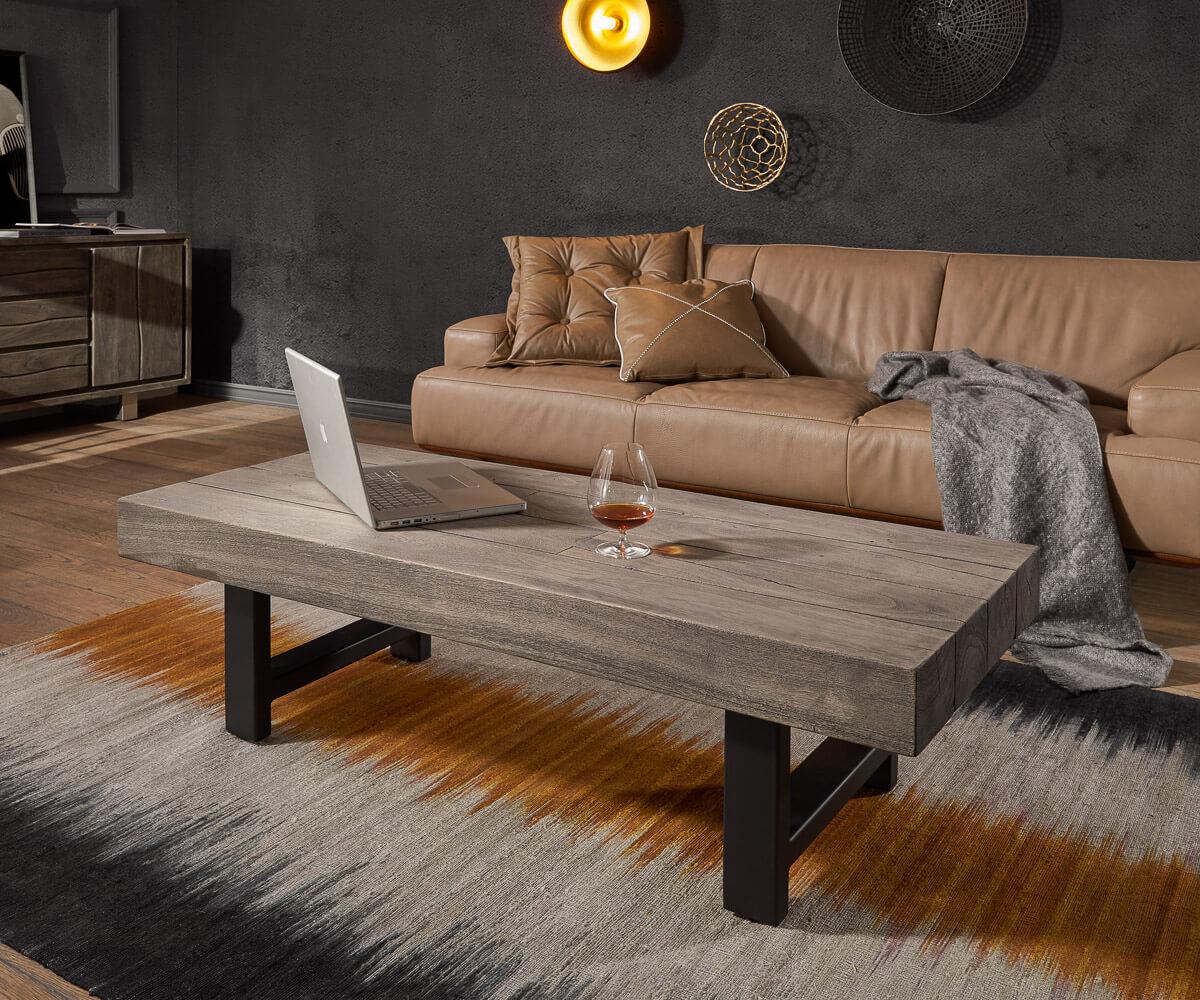 Salontafel Blokk 145x55 acacia platina massief houtmetaal