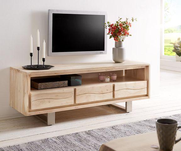 Tv-meubel Live-Edge 146 cm acacia gebleekt 3 lades 1 vak 2