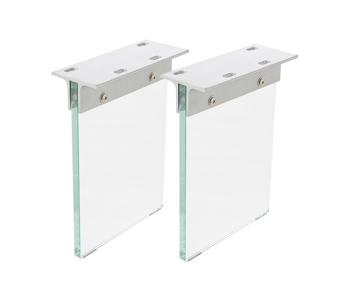 Bankbeine Live-Edge Baumtisch 28x2 cm Glas (2er Set)