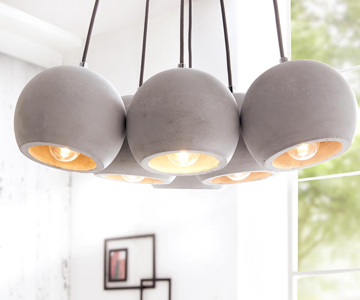 h ngeleuchte pentola 45 cm grau 6 schirme rund beton m bel leuchten h ngeleuchten. Black Bedroom Furniture Sets. Home Design Ideas