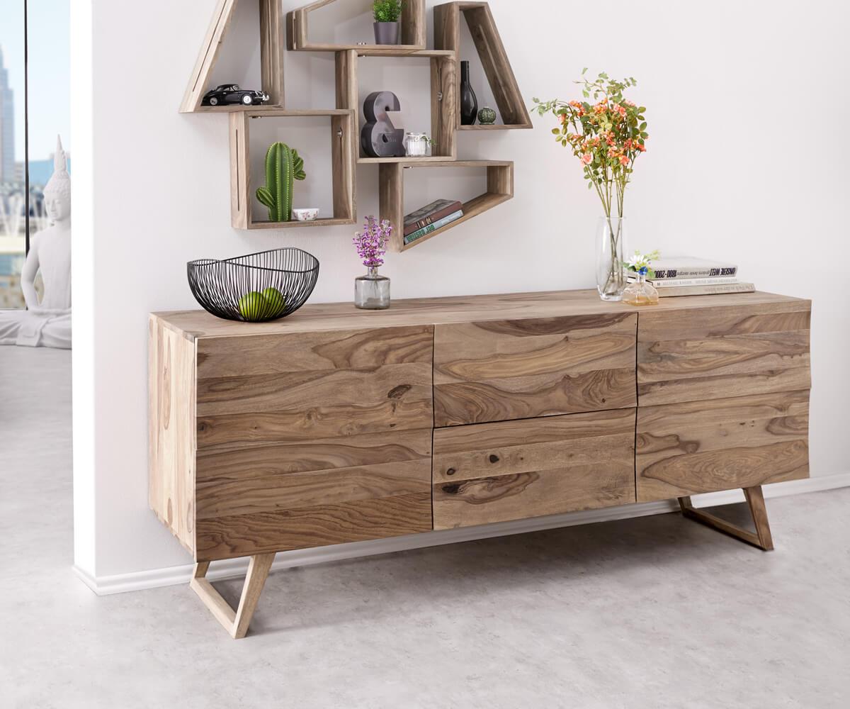 Designer-Sideboard Wyatt 177 cm Sheesham Natur 2 Türen, Sideboards