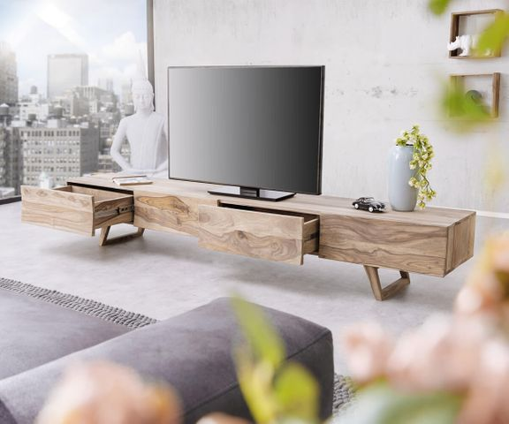 Designer-TV-meubel Wyatt 220 cm sheesham natuur 4 laden 3