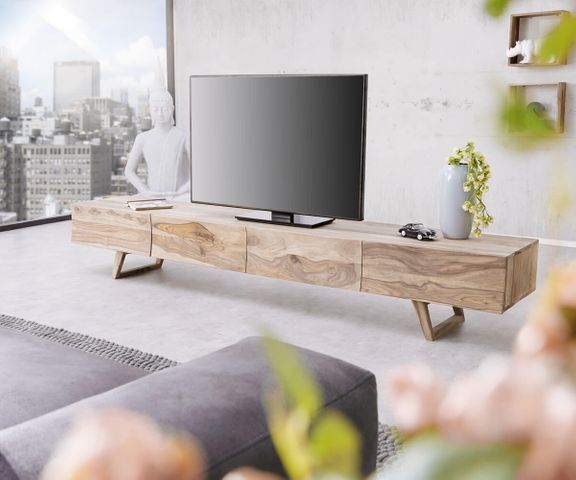 Designer-TV-meubel Wyatt 220 cm sheesham natuur 4 laden 1