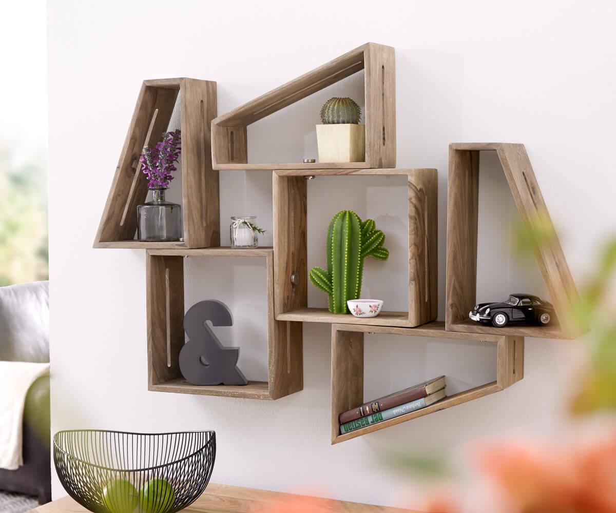3er Set Designer Wandregal Wyatt 70x55 Cm Sheesham Natur Mobel