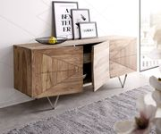 Kommode Wyatt Sheesham Natur 175 cm 3D Optik mittig Edelstahl Design Sideboard [11379]