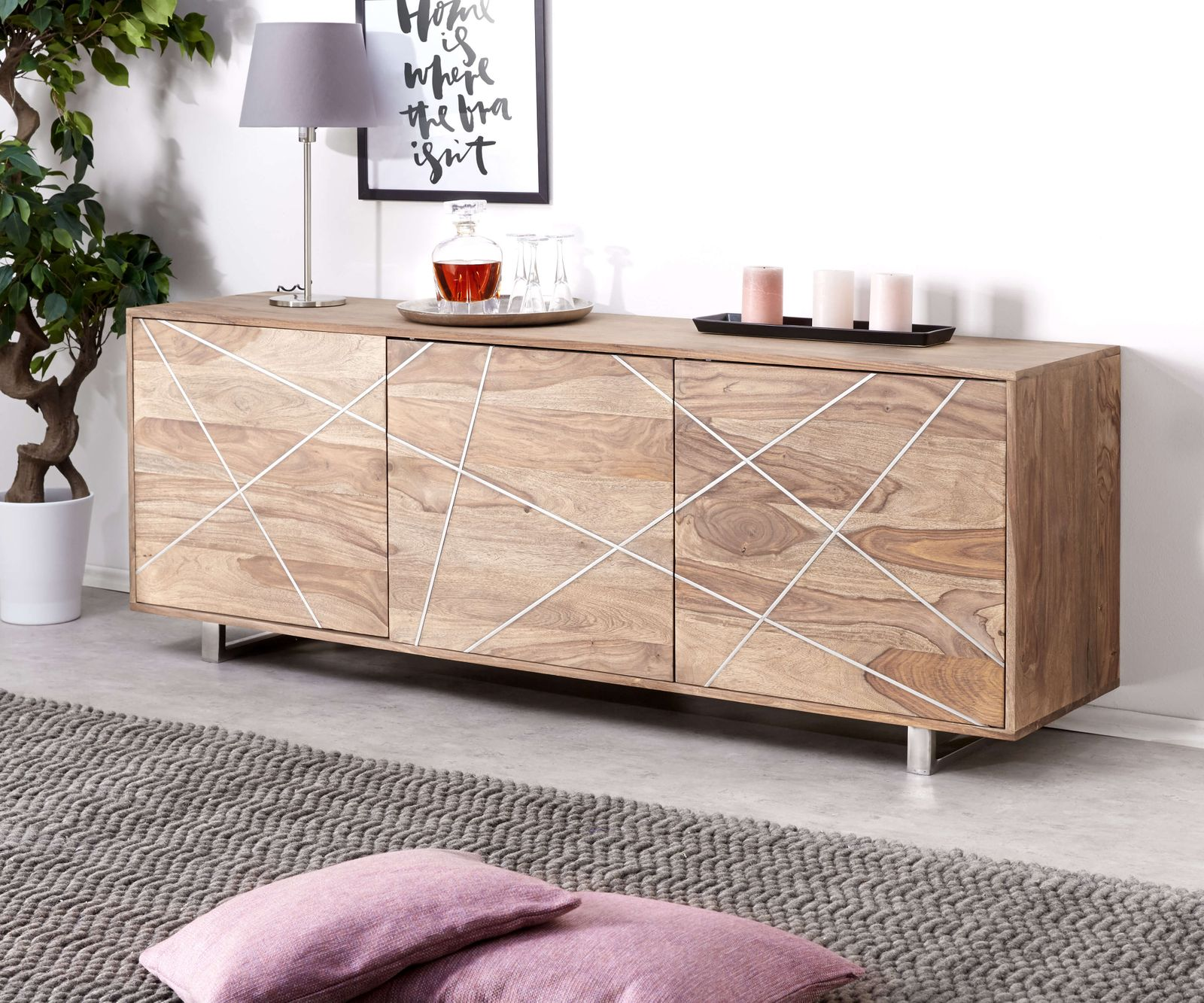 designer sideboard wyatt 175 cm sheesham natur 3 t ren m bel kommoden schr nke sideboards. Black Bedroom Furniture Sets. Home Design Ideas