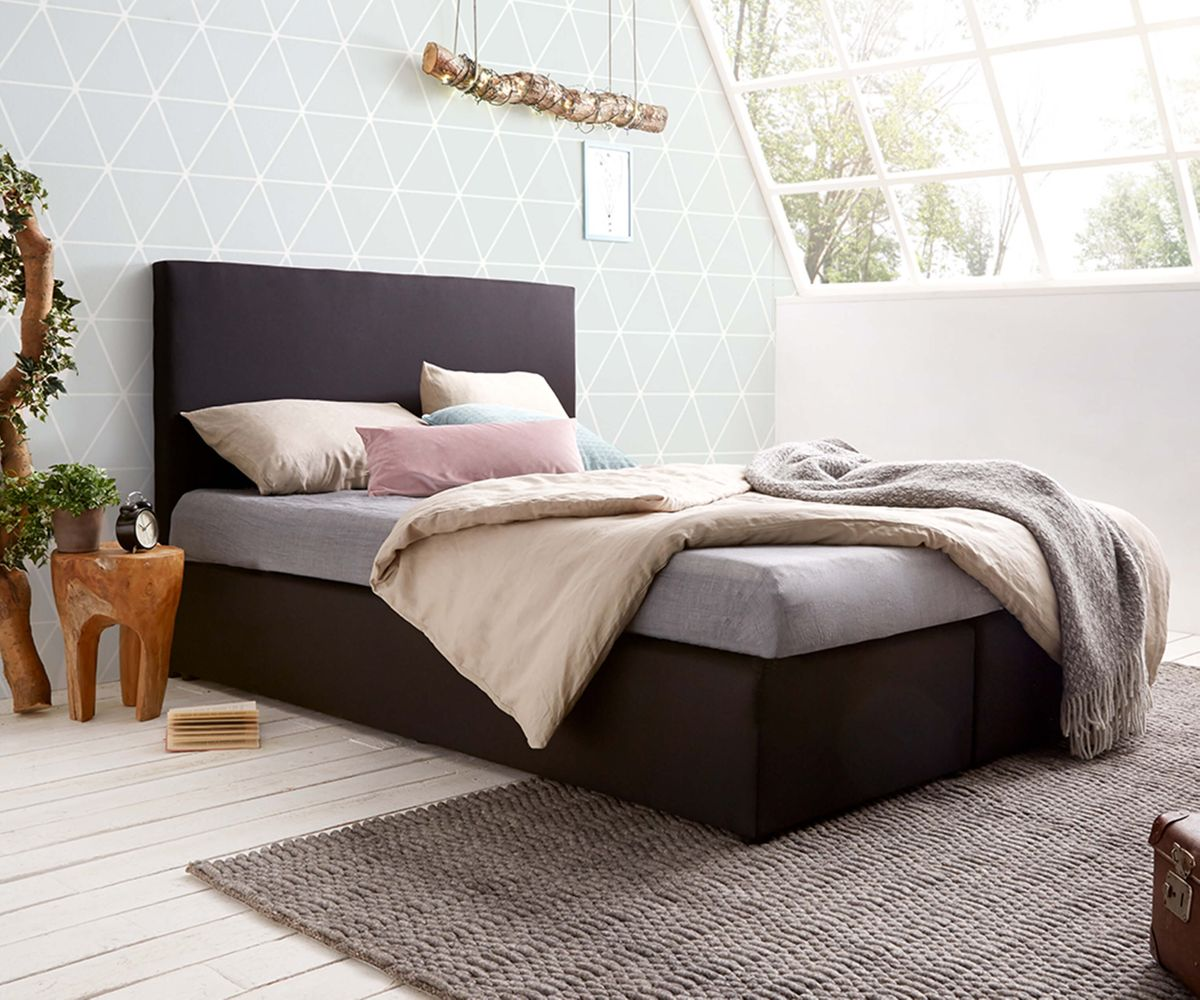 bett elexa schwarz 140x200 cm matratze und topper federkern boxspringbett ebay. Black Bedroom Furniture Sets. Home Design Ideas