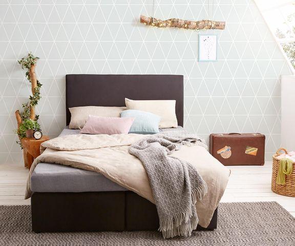 Boxspring-bed Elexa 140 x 200 cm zwart matras en Topper 2
