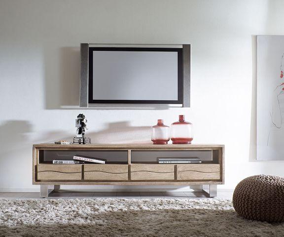TV-meubel Live-Edge 190 cm acacia champagne 2 vakken 4 laden 2