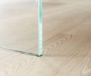 Massivholztisch Live-Edge Akazie Champagner 200x100 Platte 5,5 cm Glasbeine Baumtisch [11438]