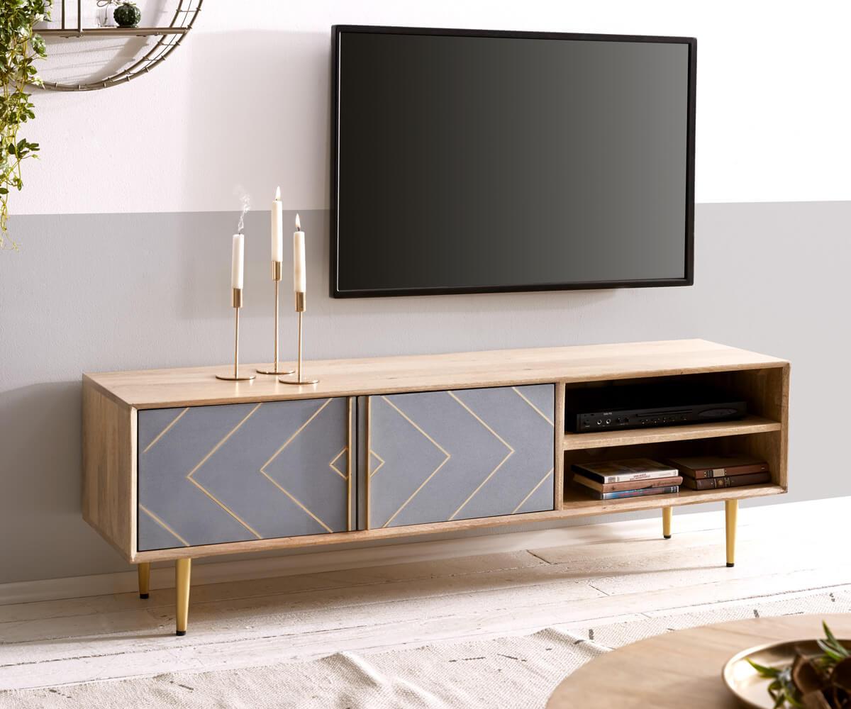 Moderne Möbelserie aus Mangoholz und Beton - eine Sinfonie aus naturfarbenem Massivholz und Grau