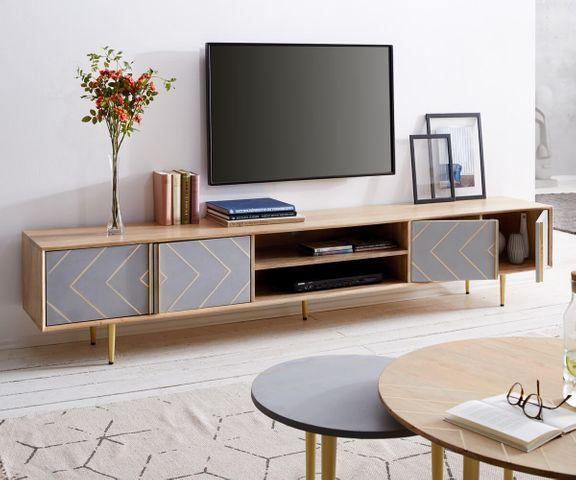 TV-meubel Metropolitan 240 cm mango natuur 4 deur beton  3