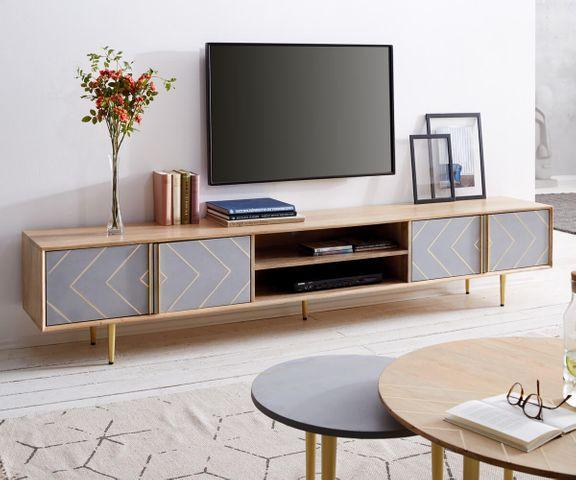 TV-meubel Metropolitan 240 cm mango natuur 4 deur beton  1