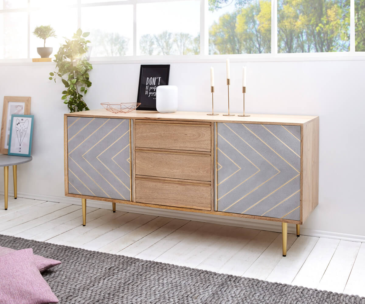 sideboard metropolitan 160 cm mango natur 2 t ren beton. Black Bedroom Furniture Sets. Home Design Ideas