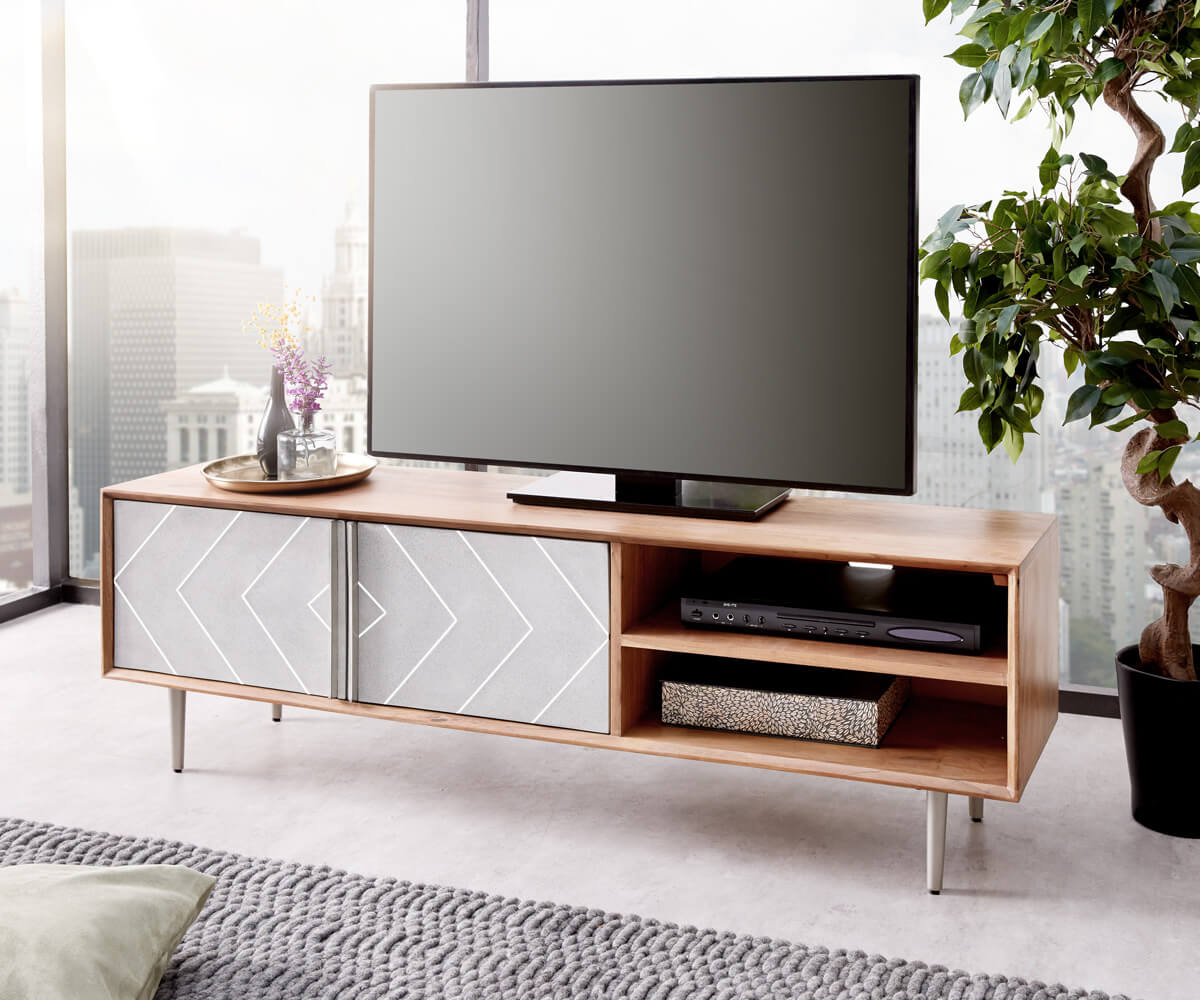 Beton Tv Meubel.Tv Meubel Metropolitan 147 Cm Acacia Natuur Beton Rvs Meubels