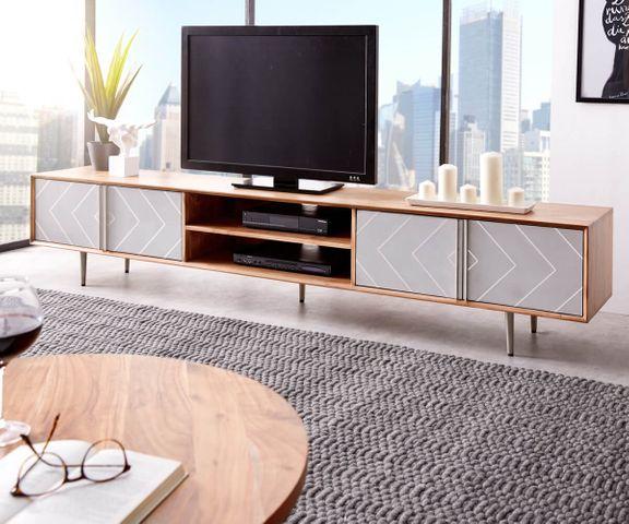 TV-meubel Metropolitan 240 cm acacia natuur beton roestvrij staal 1
