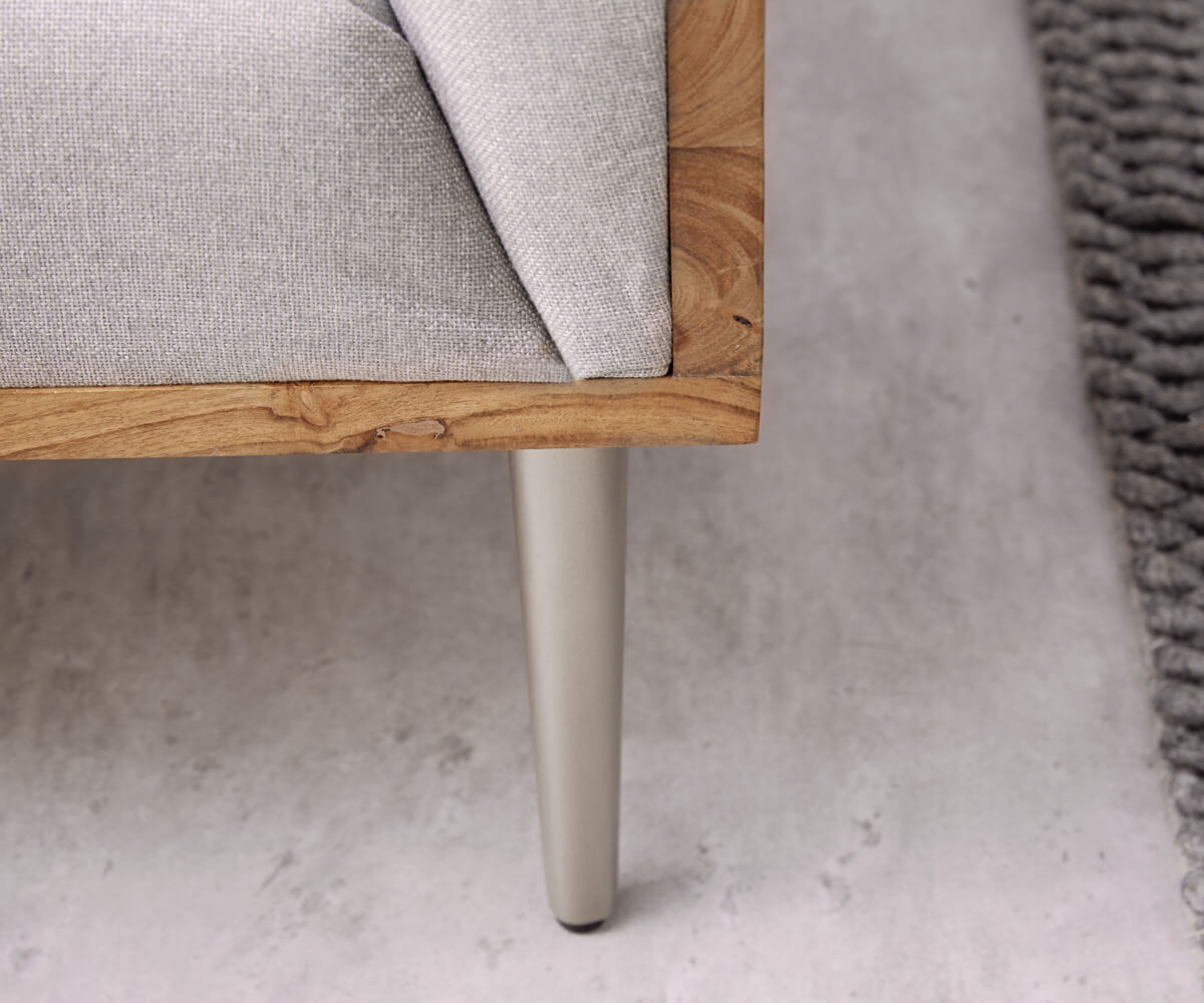 couch metropolitan grau 140x73 akazie natur filigran abgesteppt f e silber sofa ebay. Black Bedroom Furniture Sets. Home Design Ideas