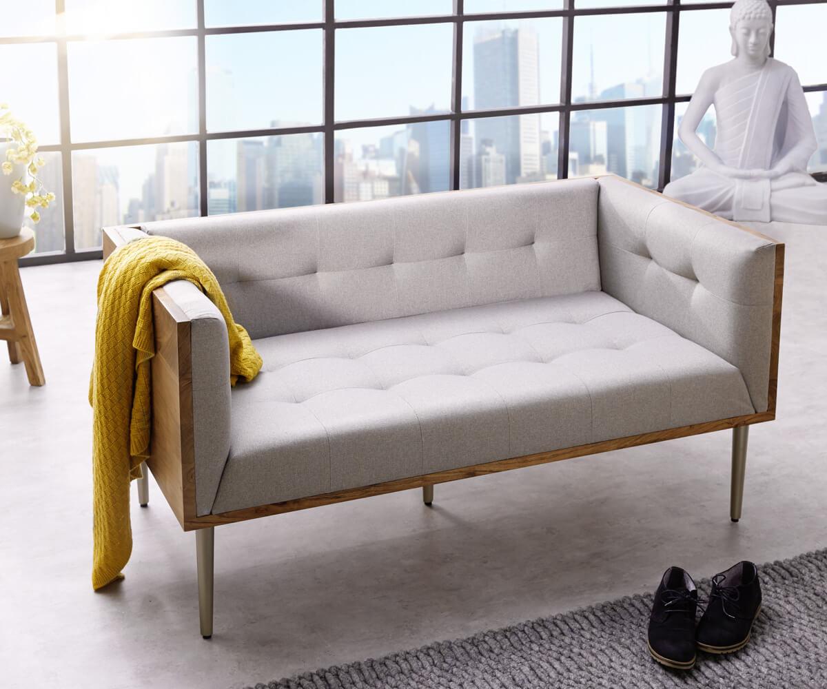 sofa metropolitan 140x73 cm grau akazie natur abgesteppt m bel sofas 2 3 sitzer. Black Bedroom Furniture Sets. Home Design Ideas